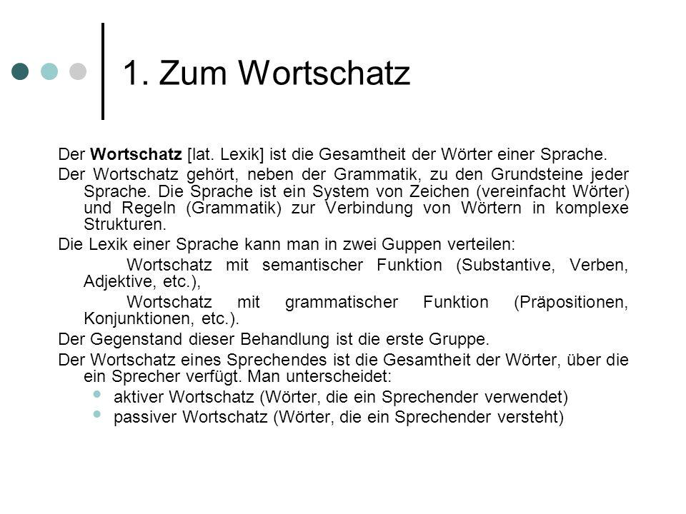 1. Zum WortschatzDer Wortschatz [lat. Lexik] ist die Gesamtheit der Wörter einer Sprache.